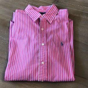 Ralph Lauren Classic Fit Pink Striped Shirt Size L